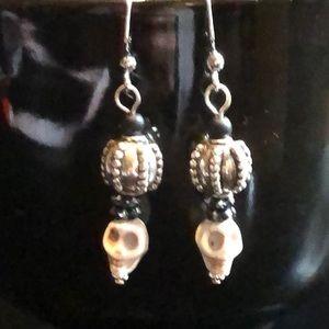 💀skull Czech glass earrings handcrafted